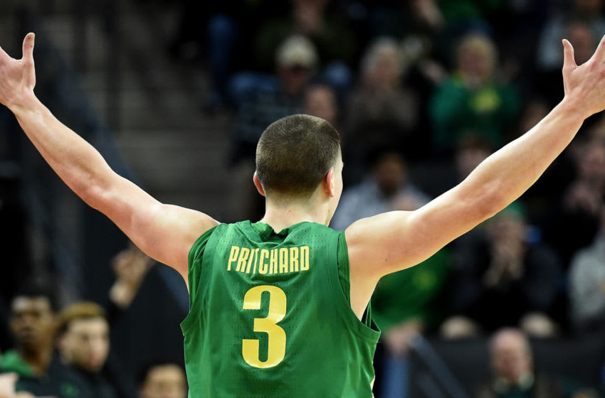 EUGENE, OREGON - MARCH 07: Payton Pritchard #3 of the Oregon Ducks encourages the crowd during the second half against the Stanford Cardinal at Matthew Knight Arena on March 07, 2020 in Eugene, Oregon. Oregon won 80-67. (Photo by Steve Dykes/Getty Images)