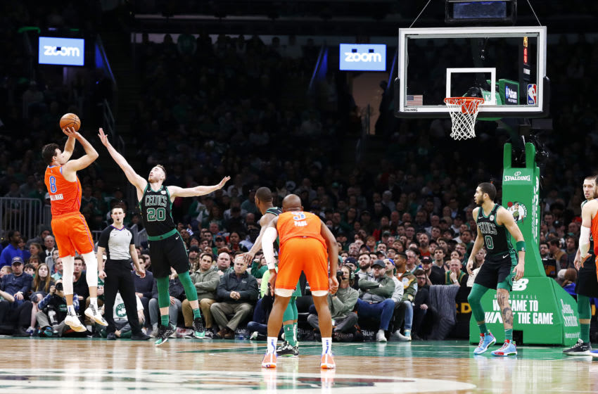 BOSTON, MASSACHUSETTS - MARCH 08: Danilo Gallinari #8 of the Oklahoma City Thunder shots over Gordon Hayward #20 of the Boston Celtics during the fourth quarter of the game at TD Garden on March 08, 2020 in Boston, Massachusetts. NOTE TO USER: User expressly acknowledges and agrees that, by downloading and or using this photograph, User is consenting to the terms and conditions of the Getty Images License Agreement. (Photo by Omar Rawlings/Getty Images)