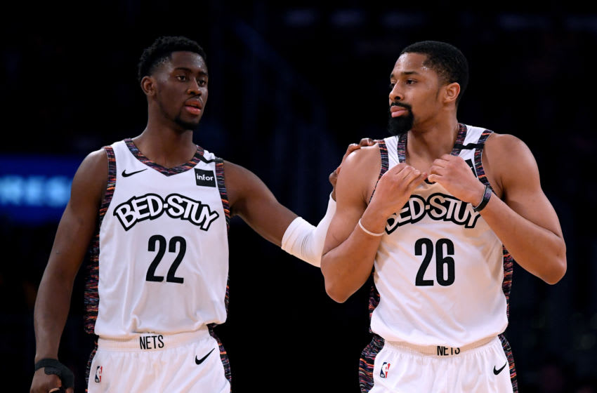 LOS ANGELES, CALIFORNIA - MARCH 10: Spencer Dinwiddie #26 and Caris Levert #22 of the Brooklyn Nets. (Photo by Harry How/Getty Images)