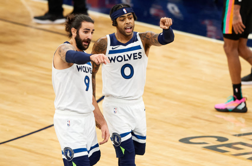 Ricky Rubio and D'Angelo Russell of the Minnesota Timberwolves. (Photo by Hannah Foslien/Getty Images)