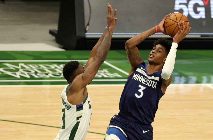 Jaden McDaniels of the Minnesota Timberwolves. (Photo by Stacy Revere/Getty Images)