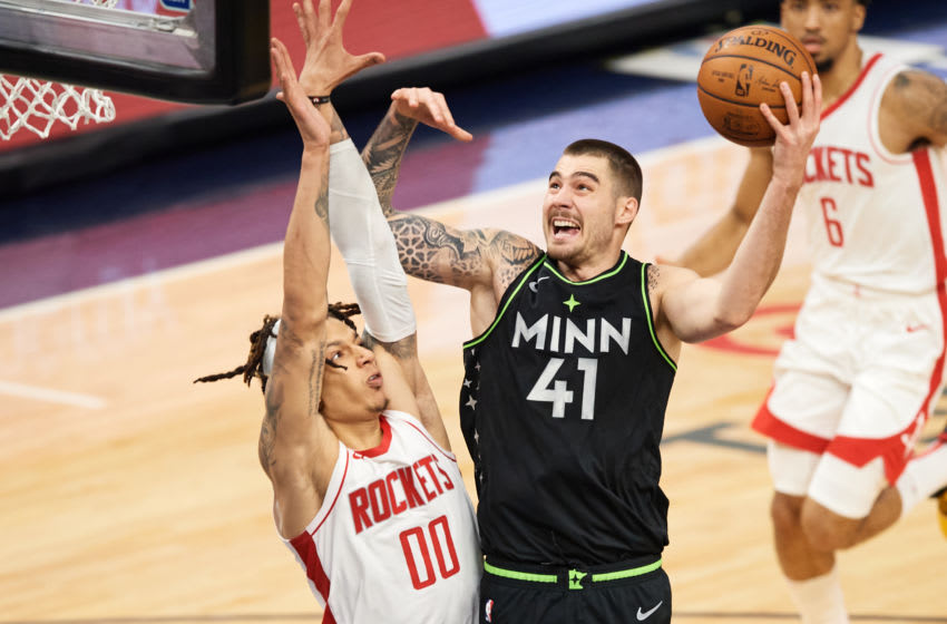 Juancho Hernangomez of the Minnesota Timberwolves ha been a big part of the Wolves playing big. (Photo by Hannah Foslien/Getty Images)