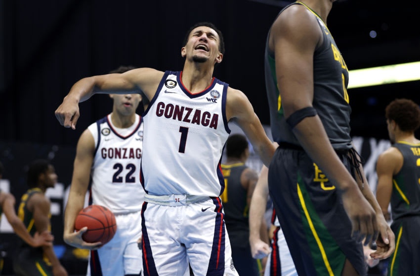 INDIANAPOLIS, INDIANA - APRIL 05: Jalen Suggs #1 of the Gonzaga Bulldogs reacts during the second half in the National Championship game of the 2021 NCAA Men's Basketball Tournament against the Baylor Bears at Lucas Oil Stadium on April 05, 2021 in Indianapolis, Indiana. (Photo by Jamie Squire/Getty Images)