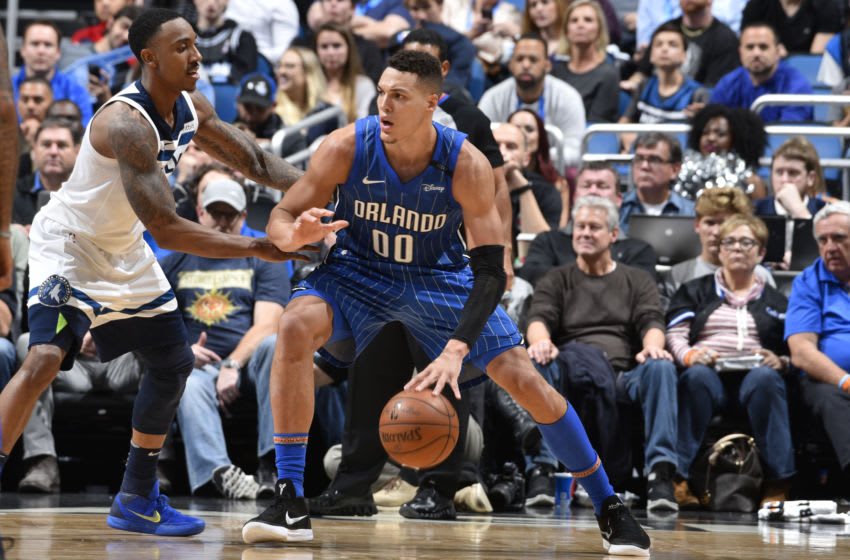 ORLANDO, FL - JANUARY 16: Aaron Gordon #00 of the Orlando Magic handles the ball against the Minnesota Timberwolves on January 16, 2018 at Amway Center in Orlando, Florida. NOTE TO USER: User expressly acknowledges and agrees that, by downloading and or using this photograph, User is consenting to the terms and conditions of the Getty Images License Agreement. Mandatory Copyright Notice: Copyright 2018 NBAE (Photo by Fernando Medina/NBAE via Getty Images)