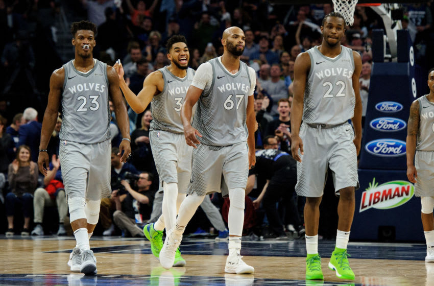Jimmy Butler, Karl-Anthony Towns, and Andrew Wiggins are one of the top Big Threes in Minnesota Timberwolves history. (Photo by Hannah Foslien/Getty Images)