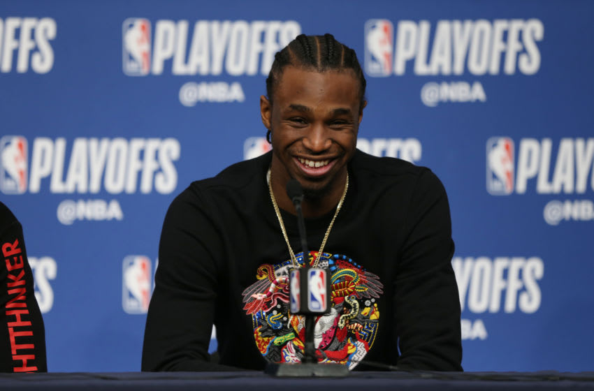 MINNEAPOLIS, MN - APRIL 21: Andrew Wiggins #22 of the Minnesota Timberwolves talks to the media following Game Three of Round One of the 2018 NBA Playoffs against the Houston Rockets on April 21, 2018 at Target Center in Minneapolis, Minnesota. NOTE TO USER: User expressly acknowledges and agrees that, by downloading and or using this Photograph, user is consenting to the terms and conditions of the Getty Images License Agreement. Mandatory Copyright Notice: Copyright 2018 NBAE (Photo by David Sherman/NBAE via Getty Images)