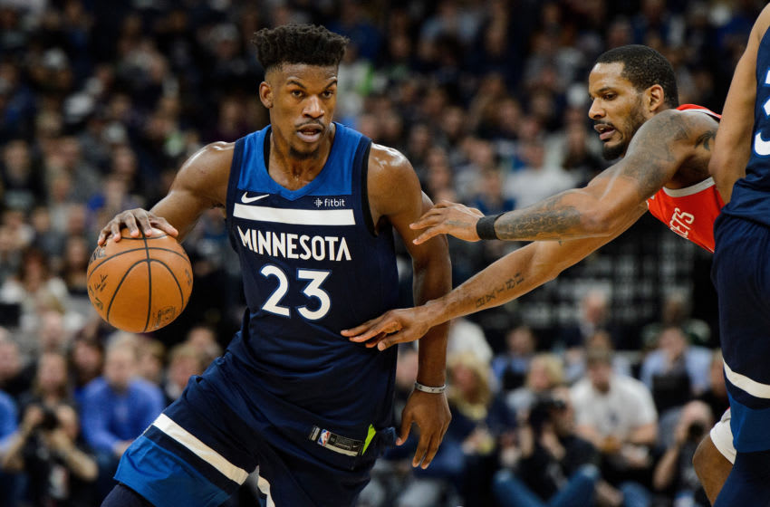 MINNEAPOLIS, MN - APRIL 21: Jimmy Butler #23 of the Minnesota Timberwolves. (Photo by Hannah Foslien/Getty Images)