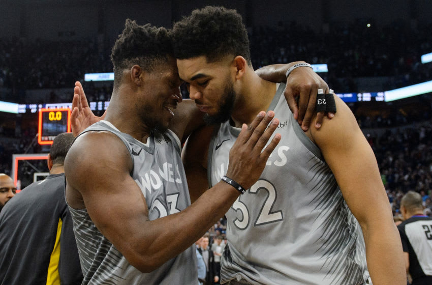 MINNEAPOLIS, MN - APRIL 11: Jimmy Butler #23 and Karl-Anthony Towns #32 of the Minnesota Timberwolves. (Photo by Hannah Foslien/Getty Images)