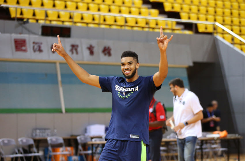 SHENZHEN, CHINA - OCTOBER 03: Karl-Anthony Towns #32 of the Minnesota Timberwolves celebrates a shot during practice and media availability at Shenzhen Gymnasium as part of 2017 NBA Global Games China on October 3, 2017 in Shenzhen, China. NOTE TO USER: User expressly acknowledges and agrees that, by downloading and/or using this Photograph, user is consenting to the terms and conditions of the Getty Images License Agreement. Mandatory Copyright Notice: Copyright 2017 NBAE (Photo by David Sherman/NBAE via Getty Images)