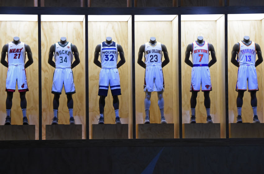 LOS ANGELES, CA - SEPTEMBER 15: A shot of the Miami Heat, Milwaukee Bucks, Minnesota Timberwolves, New Orleans Pelicans, New York Knicks and Oklahoma City Thunder new uniforms during the Nike Innovation Summit in Los Angeles, California on September 15, 2017. NOTE TO USER: User expressly acknowledges and agrees that, by downloading and or using this photograph, User is consenting to the terms and conditions of the Getty Images License Agreement. Mandatory Copyright Notice: Copyright 2017 NBAE (Photo by Andrew D. Bernstein/NBAE via Getty Images)