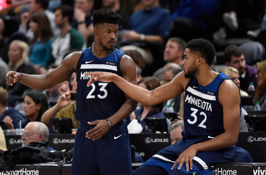 Jimmy Butler and Karl-Anthony Towns of the Minnesota Timberwolves. (Photo by Gene Sweeney Jr./Getty Images)