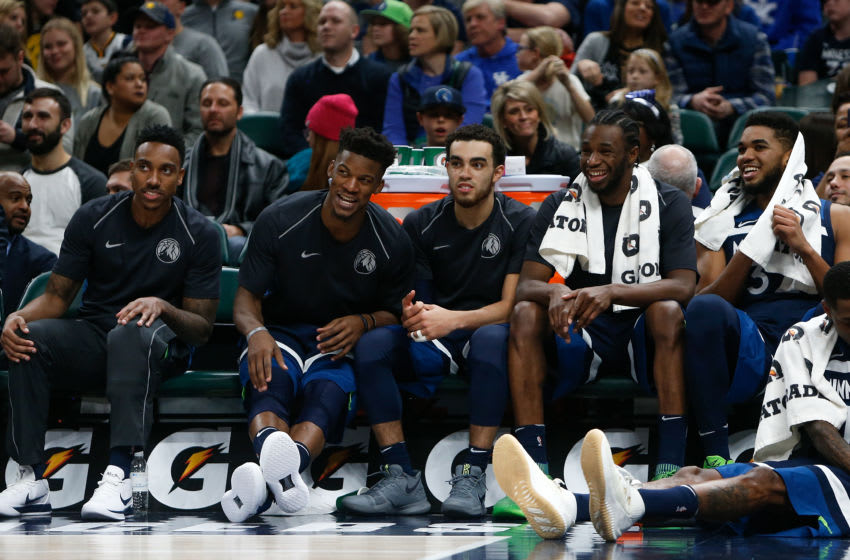 INDIANAPOLIS, IN - DECEMBER 31: Jeff Teague #0, Jimmy Butler #23, Tyus Jones #1, Andrew Wiggins #22 and Karl-Anthony Towns #32. (Photo by Michael Reaves/Getty Images)