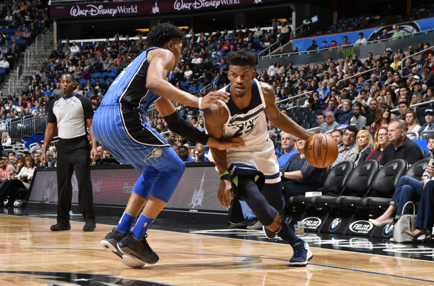 ORLANDO, FL - JANUARY 16: Jimmy Butler #23 of the Minnesota Timberwolves handles the ball against the Orlando Magic on January 16, 2018 at Amway Center in Orlando, Florida. NOTE TO USER: User expressly acknowledges and agrees that, by downloading and or using this photograph, User is consenting to the terms and conditions of the Getty Images License Agreement. Mandatory Copyright Notice: Copyright 2018 NBAE (Photo by Fernando Medina/NBAE via Getty Images)