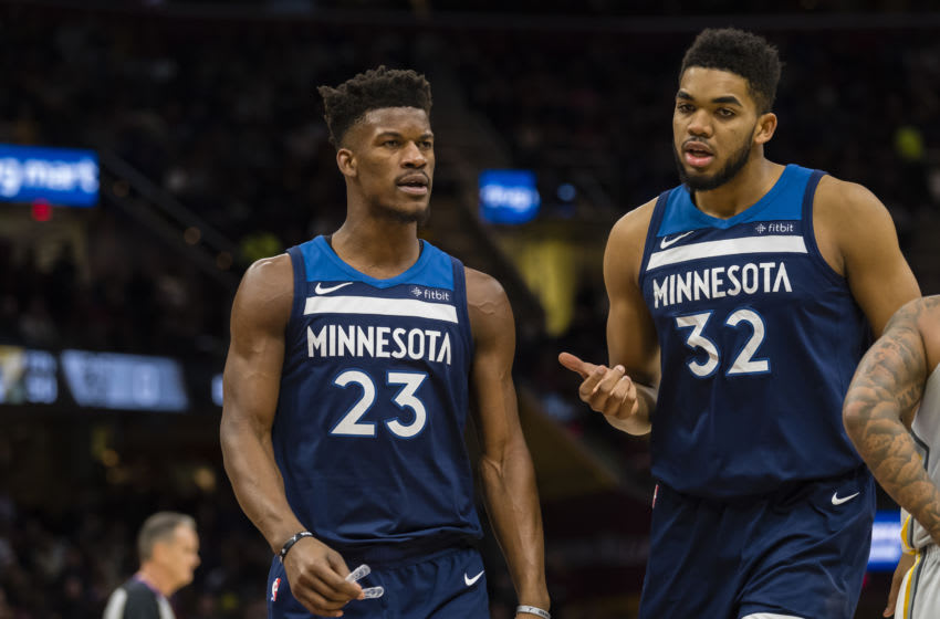 CLEVELAND, OH - FEBRUARY 7: Jimmy Butler and Karl-Anthony Towns. (Photo by Jason Miller/Getty Images)