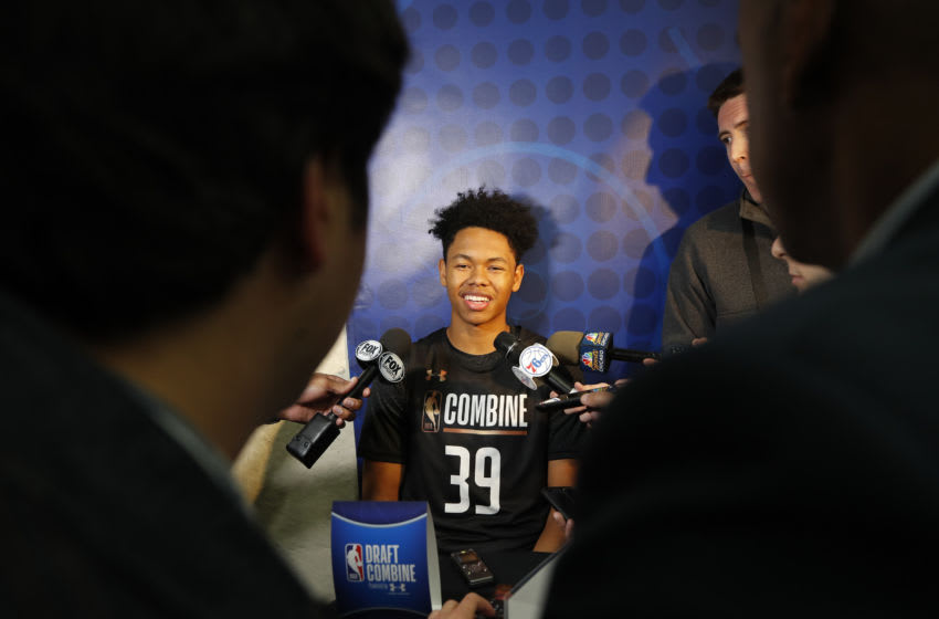 CHICAGO, IL - MAY 17: Anfernee Simons #39 talks to the media during the NBA Draft Combine. Copyright 2018 NBAE (Photo by Jeff Haynes/NBAE via Getty Images)