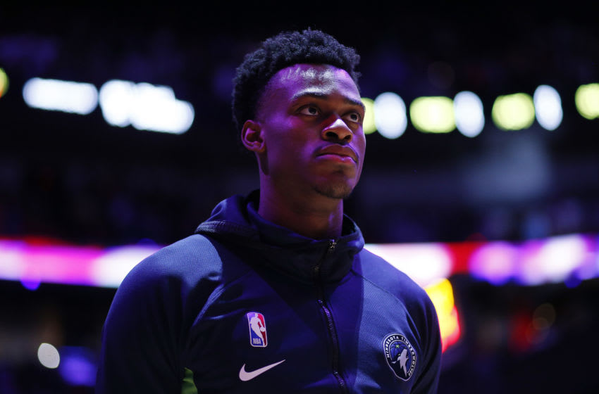 MIAMI, FLORIDA - FEBRUARY 26: Jarred Vanderbilt #3 of the Minnesota Timberwolves looks on prior to the game against the Miami Heat at American Airlines Arena on February 26, 2020 in Miami, Florida. NOTE TO USER: User expressly acknowledges and agrees that, by downloading and/or using this photograph, user is consenting to the terms and conditions of the Getty Images License Agreement. (Photo by Michael Reaves/Getty Images)