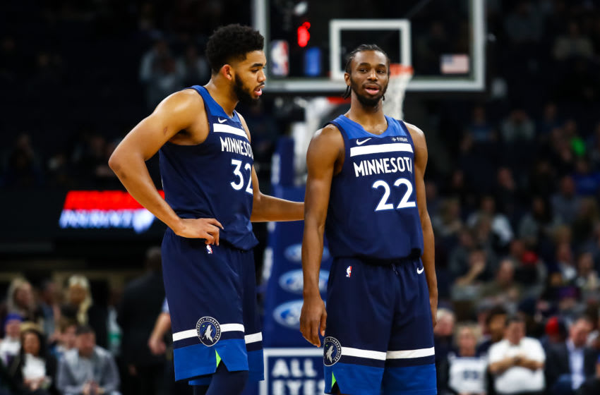 Karl-Anthony Towns #32 and Andrew Wiggins #22 of the Minnesota Timberwolves. (Photo by David Berding/Getty Images)