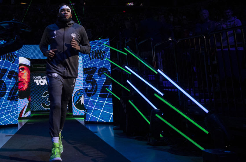 MINNEAPOLIS, MN - OCTOBER 27: Minnesota Timberwolves center Karl-Anthony Towns ran out during team introductions before an NBA basketball game against the Miami Heat at Target Center in Minneapolis, Minn. (Photo by Carlos Gonzalez/Star Tribune via Getty Images)