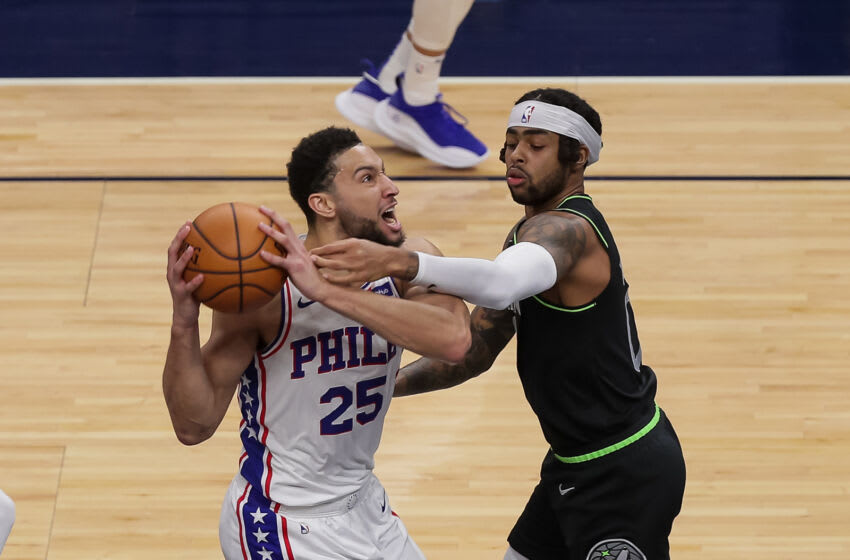 Minnesota Timberwolves guard D'Angelo Russell defends Ben Simmons of the Philadelphia 76ers. Mandatory Credit: Brad Rempel-USA TODAY Sports