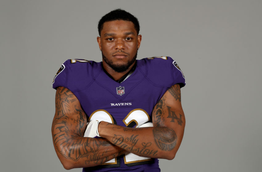 OWINGS MILLS, MARYLAND - JUNE 10: Jimmy Smith #22 of the Baltimore Ravens poses for a photo at the Under Armour Performance Center on June 10, 2019 in Owings Mills, Maryland. (Photo by Rob Carr/Getty Images)