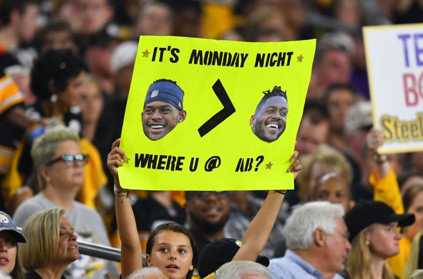 PITTSBURGH, PA - SEPTEMBER 30: A Pittsburgh Steelers fan holds a sign referring to former Steeler Antonio Brown during the first quarter against the Cincinnati Bengals at Heinz Field on September 30, 2019 in Pittsburgh, Pennsylvania. (Photo by Joe Sargent/Getty Images)