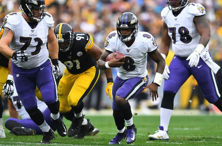 PITTSBURGH, PA - OCTOBER 06: Lamar Jackson #8 of the Baltimore Ravens carries the ball during the first quarter against the Pittsburgh Steelers at Heinz Field on October 6, 2019 in Pittsburgh, Pennsylvania. (Photo by Joe Sargent/Getty Images)