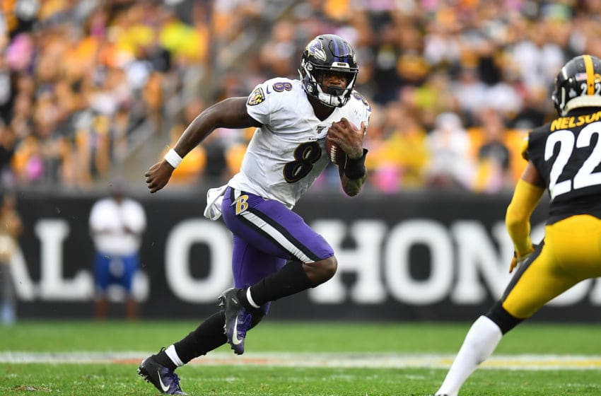 PITTSBURGH, PA - OCTOBER 06: Lamar Jackson #8 of the Baltimore Ravens in action during the game against the Pittsburgh Steelers at Heinz Field on October 6, 2019 in Pittsburgh, Pennsylvania. (Photo by Joe Sargent/Getty Images)