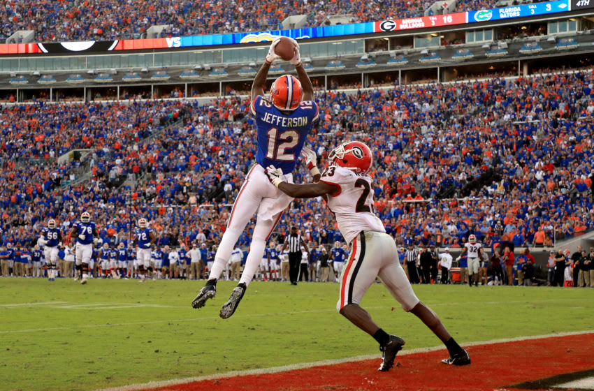 JACKSONVILLE, FLORIDA - NOVEMBER 02: Van Jefferson #12 of the Florida Gators scores a touchdown during a game against the Georgia Bulldogs on November 02, 2019 in Jacksonville, Florida. (Photo by Mike Ehrmann/Getty Images)