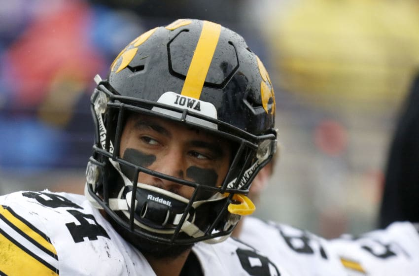 EVANSTON, ILLINOIS - OCTOBER 26: A.J. Epenesa #94 of the Iowa Hawkeyes on the sidelines in the game against the Northwestern Wildcats at Ryan Field on October 26, 2019 in Evanston, Illinois. (Photo by Justin Casterline/Getty Images)