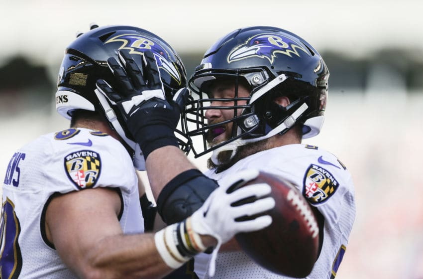 CINCINNATI, OHIO - NOVEMBER 10: Mark Andrews #89 of the Baltimore Ravens celebrates scoring a touchdown against the Cincinnati Bengals during the first quarter with James Hurst #74 at Paul Brown Stadium on November 10, 2019 in Cincinnati, Ohio. (Photo by Silas Walker/Getty Images)
