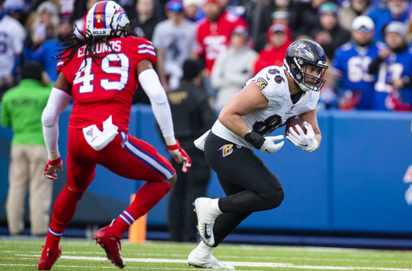 ORCHARD PARK, NY - DECEMBER 08: Nick Boyle #86 of the Baltimore Ravens runs with the ball during the third quarter against the Buffalo Bills at New Era Field on December 8, 2019 in Orchard Park, New York. Baltimore defeats Buffalo 24-17. (Photo by Brett Carlsen/Getty Images)