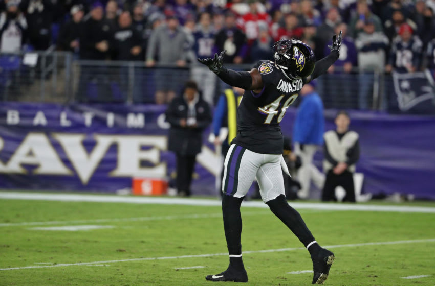 BALTIMORE, MARYLAND - NOVEMBER 03: Inside Linebacker Patrick Onwuasor #48 of the Baltimore Ravens reacts after a play during the first half against the New England Patriots at M&T Bank Stadium on November 03, 2019 in Baltimore, Maryland. (Photo by Todd Olszewski/Getty Images)