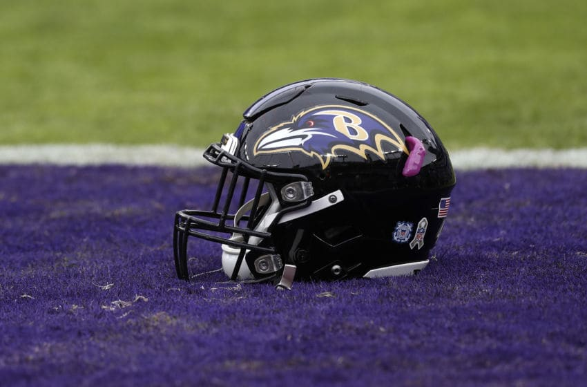 BALTIMORE, MARYLAND - NOVEMBER 17: A detailed view of the helmet of the Baltimore Ravens prior to the game between the Houston Texans and the Baltimore Ravens at M&T Bank Stadium on November 17, 2019 in Baltimore, Maryland. (Photo by Todd Olszewski/Getty Images)