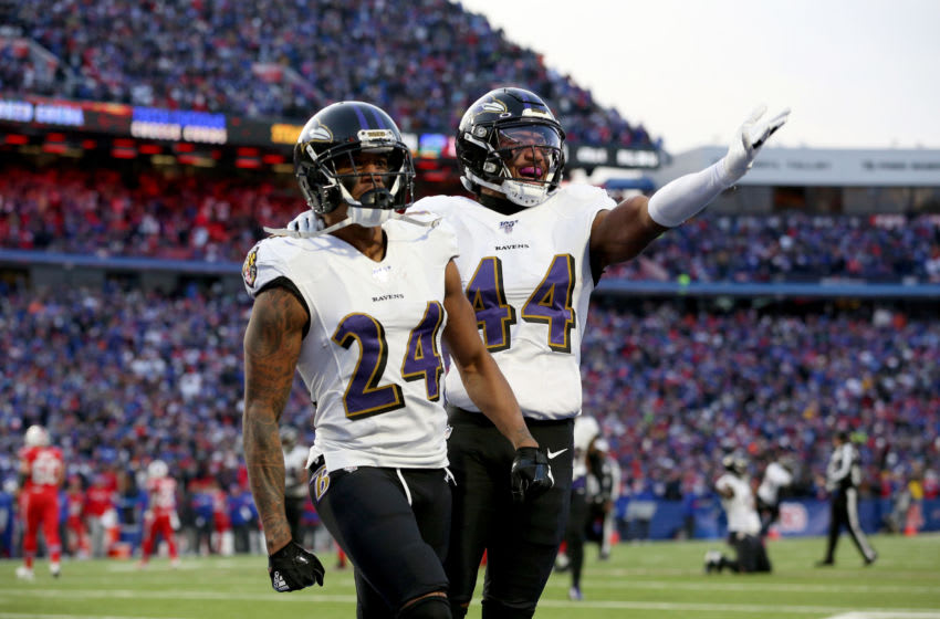 Marcus Peters #24 and Marlon Humphrey #44 of the Baltimore Ravens (Photo by Bryan M. Bennett/Getty Images)
