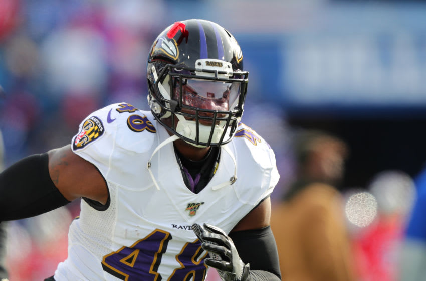 ORCHARD PARK, NY - DECEMBER 08: Patrick Onwuasor #48 of the Baltimore Ravens before a game against the Buffalo Bills at New Era Field on December 8, 2019 in Orchard Park, New York. Baltimore beats Buffalo 24 to 17. (Photo by Timothy T Ludwig/Getty Images)