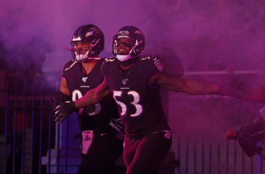 BALTIMORE, MARYLAND - DECEMBER 12: Defensive end Jihad Ward #53 of the Baltimore Ravens takes the field prior to the game against the New York Jets at M&T Bank Stadium on December 12, 2019 in Baltimore, Maryland. (Photo by Todd Olszewski/Getty Images)
