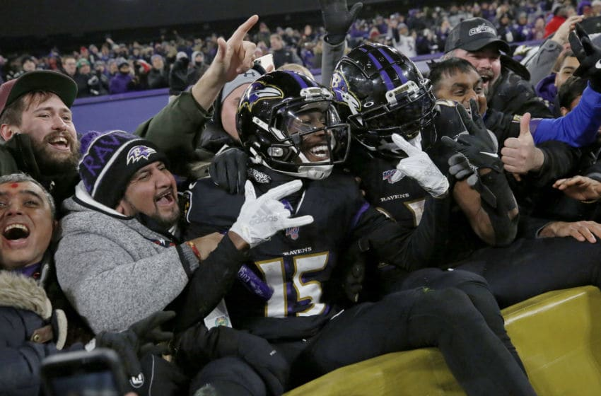 BALTIMORE, MARYLAND - DECEMBER 12: Wide receiver Marquise Brown #15 of the Baltimore Ravens and running back Mark Ingram #21 celebrate after a touchdown during the third quarter against the New York Jets at M&T Bank Stadium on December 12, 2019 in Baltimore, Maryland. (Photo by Todd Olszewski/Getty Images)
