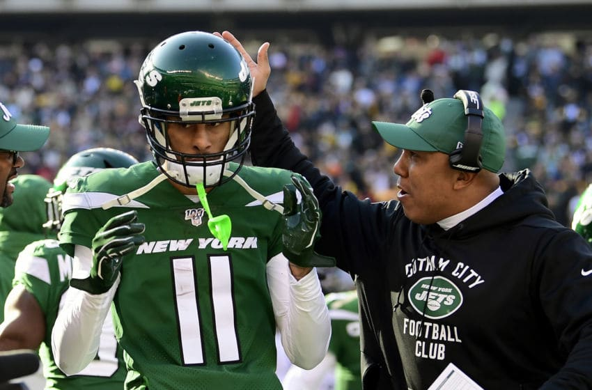 EAST RUTHERFORD, NEW JERSEY - DECEMBER 22: Robby Anderson #11 of the New York Jets is congratulated by assistant coach Hines Ward after a touchdown catch against the Pittsburgh Steelers during the first half at MetLife Stadium on December 22, 2019 in East Rutherford, New Jersey. (Photo by Steven Ryan/Getty Images)