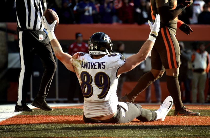 CLEVELAND, OHIO - DECEMBER 22: Mark Andrews #89 of the Baltimore Ravens celebrates after scoring a touchdown against the Cleveland Browns during the second quarter in the game at FirstEnergy Stadium on December 22, 2019 in Cleveland, Ohio. (Photo by Jason Miller/Getty Images)
