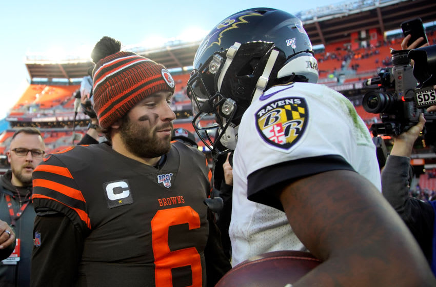 CLEVELAND, OH - DECEMBER 22: Lamar Jackson #8 of the Baltimore Ravens shakes hands with Baker Mayfield #6 of the Cleveland Browns after the game at FirstEnergy Stadium on December 22, 2019 in Cleveland, Ohio. Baltimore defeated Cleveland 31-15. (Photo by Kirk Irwin/Getty Images)