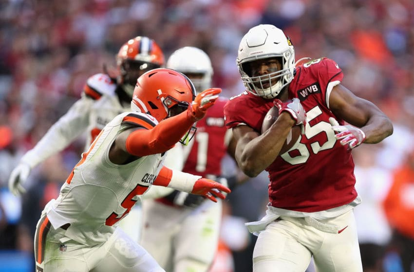 GLENDALE, ARIZONA - DECEMBER 15: Tight end Charles Clay #85 of the Arizona Cardinals runs with the football against the Cleveland Browns during the first half of the NFL game at State Farm Stadium on December 15, 2019 in Glendale, Arizona. (Photo by Christian Petersen/Getty Images)