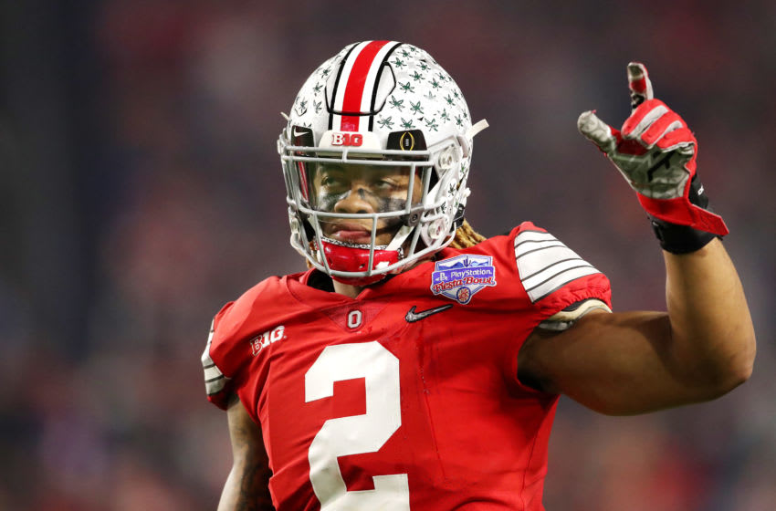 GLENDALE, ARIZONA - DECEMBER 28: J.K. Dobbins #2 of the Ohio State Buckeyes reacts against the Clemson Tigers in the first half during the College Football Playoff Semifinal at the PlayStation Fiesta Bowl at State Farm Stadium on December 28, 2019 in Glendale, Arizona. (Photo by Christian Petersen/Getty Images)