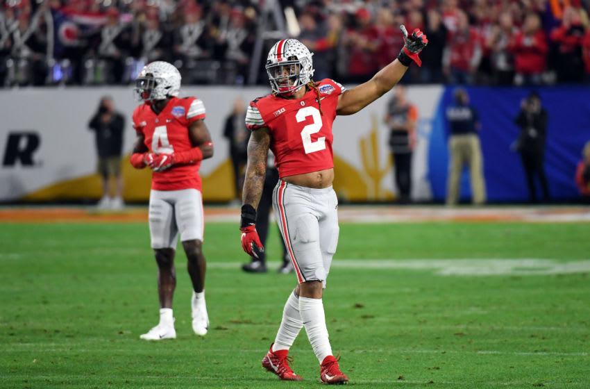 GLENDALE, ARIZONA - DECEMBER 28: J.K. Dobbins #2 of the Ohio State Buckeyes reacts against the Clemson Tigers in the second half during the College Football Playoff Semifinal at the PlayStation Fiesta Bowl at State Farm Stadium on December 28, 2019 in Glendale, Arizona. (Photo by Norm Hall/Getty Images)