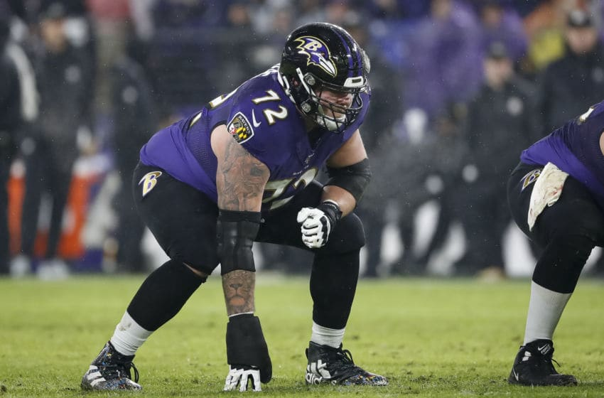 BALTIMORE, MD - DECEMBER 29: Ben Powers #72 of the Baltimore Ravens lines up against the Pittsburgh Steelers during the first half at M&T Bank Stadium on December 29, 2019 in Baltimore, Maryland. (Photo by Scott Taetsch/Getty Images)