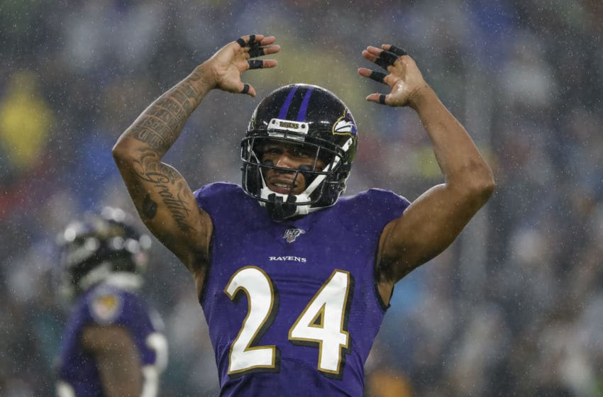 BALTIMORE, MD - DECEMBER 29: Marcus Peters #24 of the Baltimore Ravens reacts during the first half of the game against the Pittsburgh Steelers at M&T Bank Stadium on December 29, 2019 in Baltimore, Maryland. (Photo by Scott Taetsch/Getty Images)