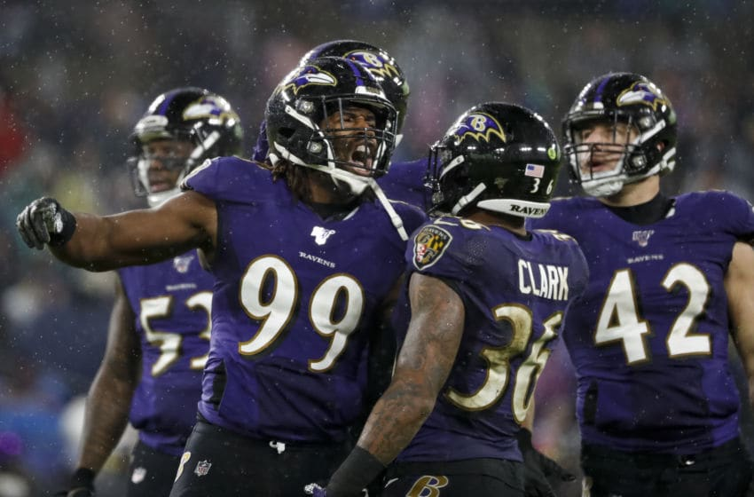 BALTIMORE, MD - DECEMBER 29: Matt Judon #99 of the Baltimore Ravens celebrates with teammates after a play against the Pittsburgh Steelers during the second half at M&T Bank Stadium on December 29, 2019 in Baltimore, Maryland. (Photo by Scott Taetsch/Getty Images)