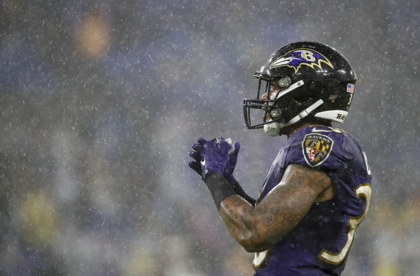 BALTIMORE, MD - DECEMBER 29: Chuck Clark #36 of the Baltimore Ravens looks on during the second half of the game against the Pittsburgh Steelers at M&T Bank Stadium on December 29, 2019 in Baltimore, Maryland. (Photo by Scott Taetsch/Getty Images)