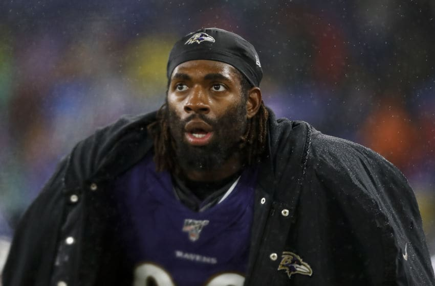 BALTIMORE, MD - DECEMBER 29: Matt Judon #99 of the Baltimore Ravens looks on during the second half of the game against the Pittsburgh Steelers at M&T Bank Stadium on December 29, 2019 in Baltimore, Maryland. (Photo by Scott Taetsch/Getty Images)