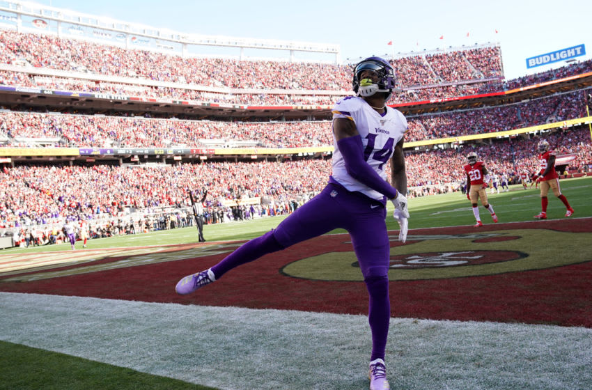 SANTA CLARA, CALIFORNIA - JANUARY 11: Stefon Diggs #14 of the Minnesota Vikings celebrates after a 41-yard touchdown against the San Francisco 49ers in the first quarter of the NFC Divisional Round Playoff game at Levi's Stadium on January 11, 2020 in Santa Clara, California. (Photo by Thearon W. Henderson/Getty Images)
