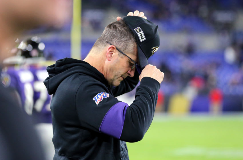 BALTIMORE, MARYLAND - JANUARY 11: Head coach John Harbaugh of the Baltimore Ravens reacts during the second half in the AFC Divisional Playoff game against the Tennessee Titans at M&T Bank Stadium on January 11, 2020 in Baltimore, Maryland. (Photo by Maddie Meyer/Getty Images)